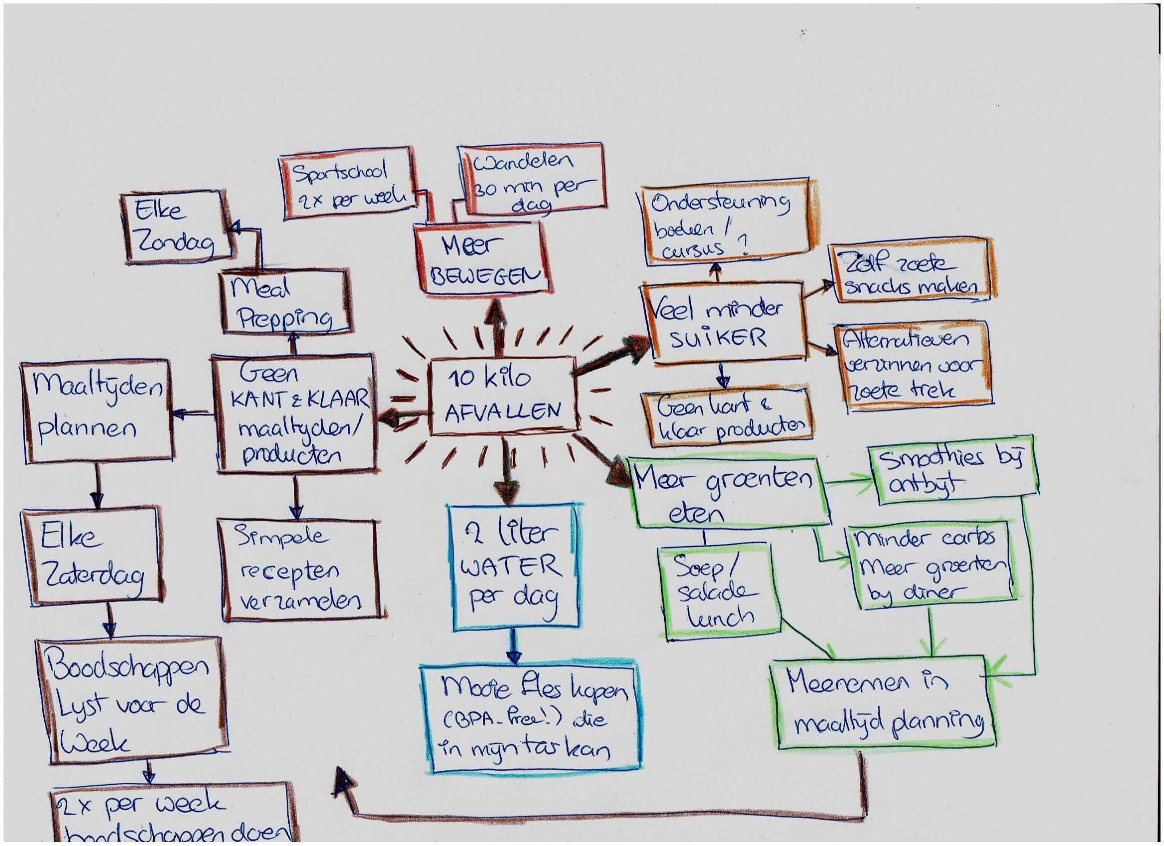 Een voorbeeld mindmap van een goed voornemen
